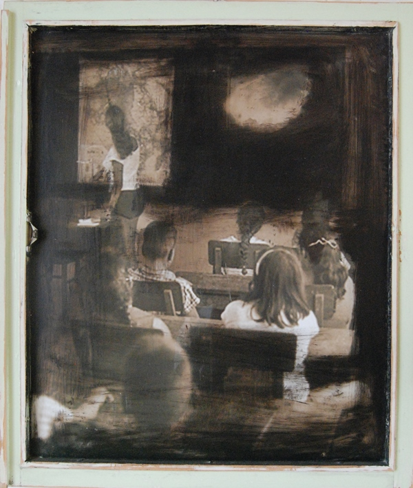 Classroom Mixed technique on glass 70x60 cm 2010
