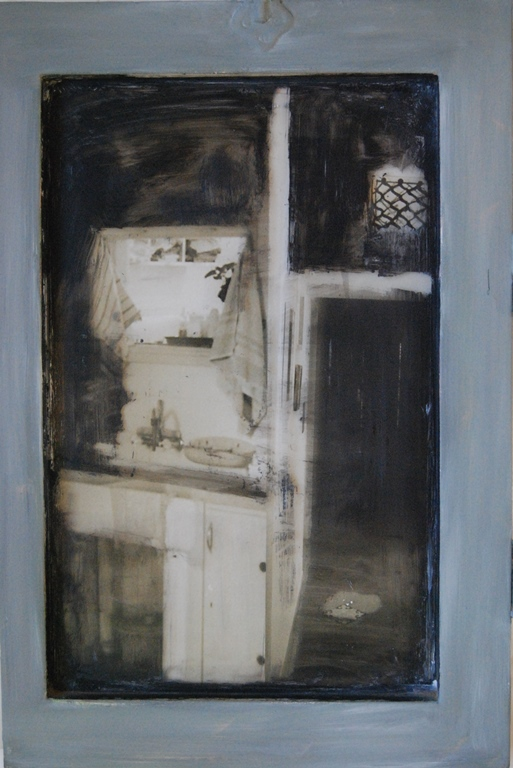 Kitchen Mixed technique on glass 46x61 cm 2010