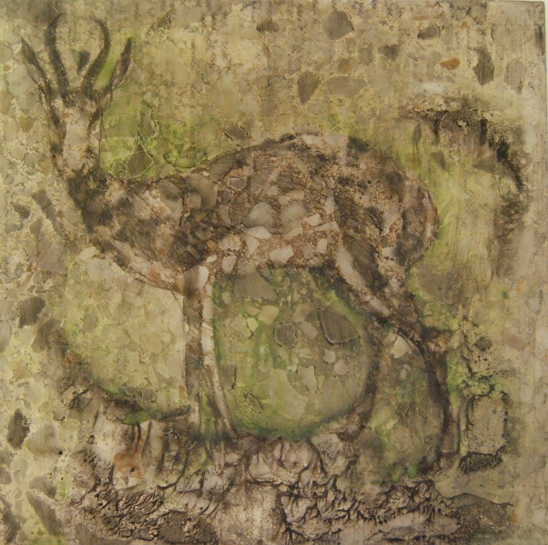 Deer Mixed technique on tile 20x20 cm 2014
