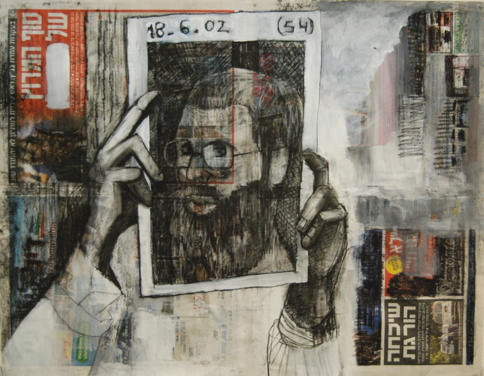 Boaz Charcoal and Acrylic on newspaper 60x75 cm 2013