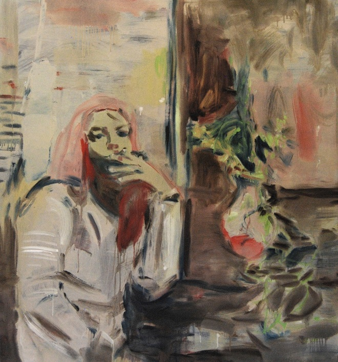 Woman smoking Oil on canvas 140x130 cm 2018